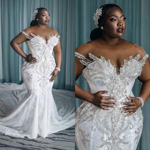 Plus Size 2020 Arabic Mermaid Wedding Dresses Beaded Lace Appliqued Chapel Train Bridal Gowns Robe De Mariée