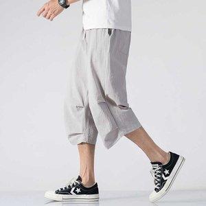 Streetwear Men Solid Summer Harem Pants Mens 2020 Loose Calf-Length Trousers Male Wide Leg Chinese Style Vintage Pants Men