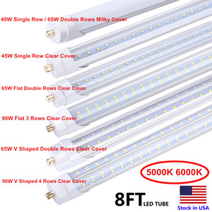 5000K 6000K는 T8 단일 핀 FA8 45W LED 형광등 대체 LED 튜브 8 피트 8 피트 8 피트 전구 램프 SMD2835 LED 전구 빛