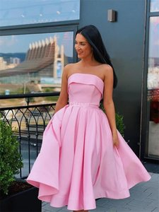 Hot Pink Short Graduation Dresses With Strapless A Line Prom Gown 2020 Cheap Sash Ribbon Custom MAde Special Occasion Dress