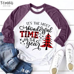 Christmas Tree Letter Print T Shirt For Women 2020 Xmas Merry Polyester Christmas New Year T Shirt Ladies Patchwork Pullover Tops T