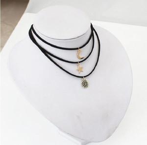 Kleine nette Sonne-Mond-Sterne-3PCS SET Bar-Halsketten-Sets Black Velvet Short Chokers Neckless für Frauen Schmuck Collier