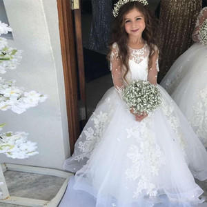 Wholesales- Jewel Neck Long Sleeve Flower Girls Dresses Lace Appliques Girls Pageant Dress Beaded Kids Formal Gowns Birthday Communion