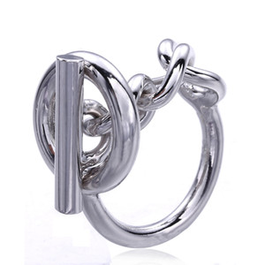 Anello a catena con corda in argento sterling 925 con chiusura a cerchio per donne