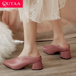 QUTAA 2020 Women Pumps Fashion Mules Women Shoes Square High Heel Pointed Toe Pu Leather Casual Classic Ladies Pumps Size 34-43 Y200702