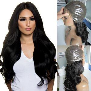 New Product Jet Black Color 1 Virgin Brazilian Wavy Hair Full Thin Skin Wig Free Shipping