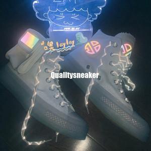 Covase X Lay Zhang Luminous Freizeitschuhe 3M Reflective Absetzkipper Kristallband-Schleife Tiny Taschen Designer Sport Sneaker