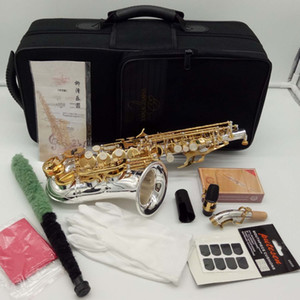 YANAGISAWA curvo Saxofón Soprano SC-9937 plata de níquel Latón Sax Boquilla Parches Pads cañas curva del cuello