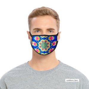 Kaleidoscope máscara resistente al viento y al polvo 3D impresión de tela de poliéster de seda de hielo lavable máscara de seda del hielo