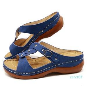 Women Summer Shoes For Women Sandals Vintage Anti-Slip Breathable Wedge Platform Sandals Crystal Open Toe Female Shoes ct1