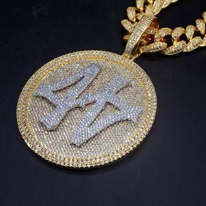 Iced Out Number 44 Diamante de gran tamaño Collar colgante redondo 18k Chapado en oro para hombre Hiphop Bling Regalo de joyería