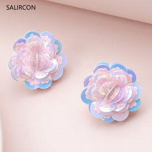 Salircon Korean Colorful Flower Small Stud Earrings Brinco Fashion Kpop Summer Multi Layer Crystal Earring For Women Jewelry