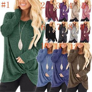 Yeni Stil 12 Renkler Kadınlar Uzun kollu Yuvarlak Boyun T-Shirt 2018 Sıcak Satış Yeni Büküm Düğüm Gömlek CW1809182