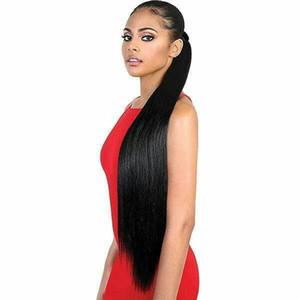 Cordelette cheveux humains queue de cheval lisse droite malaisienne Vierge cheveux queue de cheval avec des clips pour les femmes à bas réglable Ponytail Hair Extensions