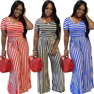 Bayan eşofman şerit kısa kollu kıyafetler iki parçalı set kırpma üst + moda şerit Geniş bacak pantolon bayan giyim iki parçalı kıyafetler