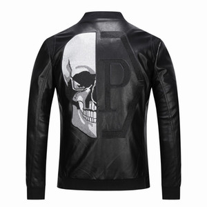 2019 High Quality Outerwear Men's Leather Jackets Skull Patterned spring Winter Biker Motorcycle Faux Leather PU Coat For Male