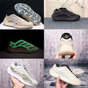 New Shoes rilascio stilista Azael Bianche 700 v3 Kanye West delle donne degli uomini delle scarpe da tennis dei pattini correnti si illumina al buio di alta qualità con la scatola