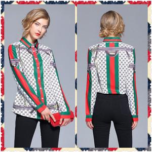 2020 новый стиль взлетно посадочной полосы женская мода весна осень печати блузки рубашки элегантный офис Леди Sexy Slim плюс размер классический письмо блузки рубашки