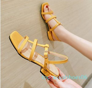 plus size 31 32 to 43 44 45 46 casual style pink T strap low heel sandals luxury women designer slides t06