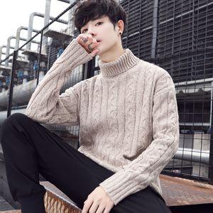 Slim Fit 2019 hombres del invierno de la cachemira de cuello alto en la cálida lana de tejer suéteres jersey casual con cuello en V manga solo hombre de punto