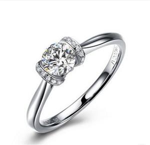 Anello gioiello d'argento Moissanite gioiello 0,5 carati 5 mm Anello G-H moissanite Anello gioiello d'argento sterlina 925 Anello gioiello sintetico femminile