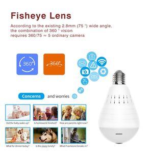 LED ضوء 960P واي فاي كاميرا IP HD فيش لمبة مصباح مصغرة كاميرا 360 درجة بانورامي عرض كاميرا الأمن الرئيسية لاسلكية