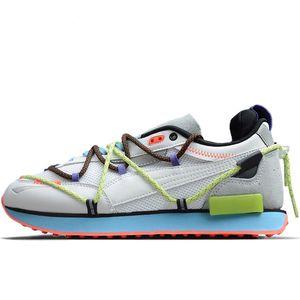 Yeni Popüler Pum Gelecek Rider Sıfır Beyaz Erkek Koşu Ayakkabı Tasarımcısı Eğitmenler Woemen Moda Gökkuşağı İpli Yürüyüş Sneakers 372711-01