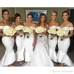 2019 White Bridesmaid Dress Fashion Mermaid Off The Shoulder Long Maid of Honor Dress Wedding Guest Gown Custom Made Plus Size
