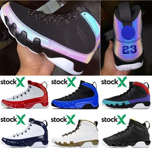 Nike Air Jordan Retro 9 9s Stockx Fitnessstudio Rot Männer Basketball Schuhe Racer Blue Citrus UNC Statue Herren Turnschuhe Sport Turnschuhe Größe 7-13