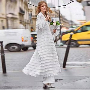 Woman long coat tops autumn and winter fashion fringed white dress loose casual cardigan long skirt cape
