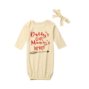 Ropa de dormir para bebés Ropa para bebés recién nacidos Baby Girl Letter Swaddle Wrap Manta de manga larga saco de dormir + diadema 2pcs Set 0-6M
