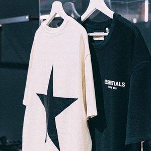 18SS MEDO DE DEUS logotipo FOG ESSENTIALS estrela camiseta homens casal mulheres Summer Street Logo Imprimir manga curta Casual Tee HFTTTX110