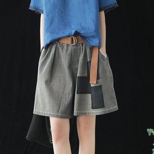 Johnature Vintage Women Denim Shorts Pockets 2020 Été Nouvelle taille élastique Loose Women Shorts