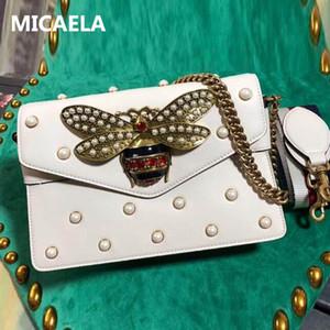 MICAELA 3A icónico bolso bolsos de hombro de las mujeres de los bolsos de la manera de los monederos de Crossbody del cuero auténtico Broadway metal abeja con las perlas 453778