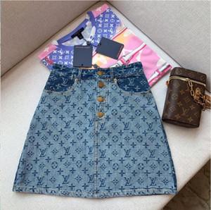 Ladies 2020 летний дизайнер высокой талией джинсовые юбки Wrap HIPS юбке кнопка тяжелой промышленности печати юбка женская
