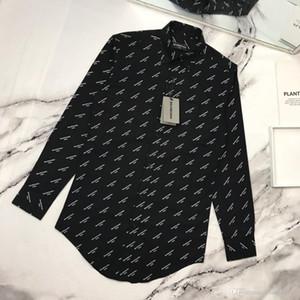 2020 al por mayor clásico de la moda tejidos de seda hombres y mujeres casuales camisas de encargo suave de cuerpo completo pequeño logotipo de la letra de impresión blusas tamaño asiático