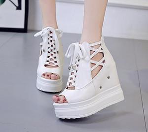 Platform Peep Toe Moda Donna Scarpe Pantofole alte zeppe Casual Scarpe peep toe estate pelle Gladiator Sandals