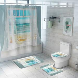 Cilected 4pcs / Set New Beach impression Rideau de douche Tapis de sol salle de bains toilettes Siège Couverture anti-dérapant Tapis bleu Partition Rideau