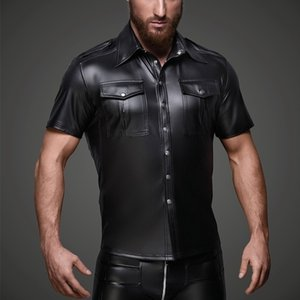Uomini Faux Leather Camicie Pu Leather T Shirt Uomo Sexy Fitness Top Gay Latex T-Shirt Tees Mens Stage Top Tee Sexy Party Clubwear Y19060601