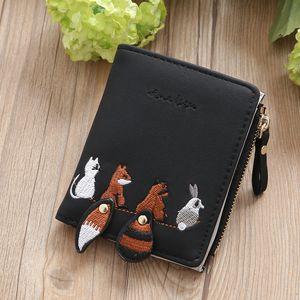 New Leather Wallet Women Small Famous Lovely Cartoon Animals Women Wallets Purses Female Short Coin Zipper Purse Cartera Mujer