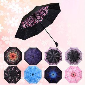 70 % 그늘 차가운 검은 껌 여성 접힌 태양 우산 비가 내리면서 다른 무늬가있는 단순 우산 13 4 년 J1