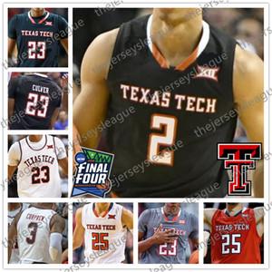 TTU Texas Tech 2019 Finali Dört Siyah Kırmızı Gri Beyaz Basketbol Forması # 2 Zhaire Smith 0 Kyler Edwards 1 Francis 32 Norense Odiase