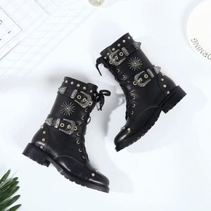 Hot Sale-New Winter Rivet Motorcycle Boots Military Booties Flat heel Cowhide Lace Buckle Army Boots
