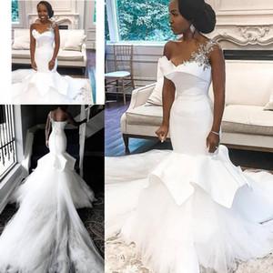 Vestidos de novia africanos Tallas grandes con un hombro apliques perlas Tuleed Tulle Sirena Vestido de novia Tren Largo Tren Robias nupciales de Soirée