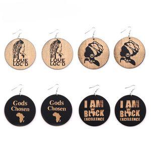 Personalidade Brincos De Madeira África Geométrica África Redonda De Madeira Charme Pingente Dangle Brincos Para As Mulheres Lady Jóias Presente