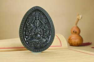 Natural Hetian jade jade thousand hand Guanyin brand tower green a fine Guanyin carved pendant pendant hp290#