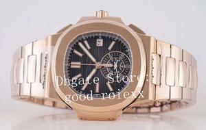 Oro rosa orologi degli uomini di lusso Cronografo Automatico Movimento della vigilanza degli uomini Cal.28520 Complicazioni Data 5980 Eta Sport quadrante nero Orologi da polso