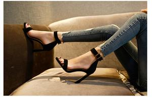 De salto alto Mulheres Sandálias Primavera Verão 2020 New tira no tornozelo Com Sexy Pure toe-aberto Praça Sexy Ladies Shoes