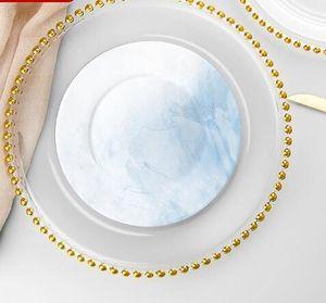 골드 / 실버 / 클리어 페르시 림 라운드 저녁 식사 서비스 트레이 웨딩 테이블 장식 GGA3206와 27cm 라운드 비드 요리 유리 접시