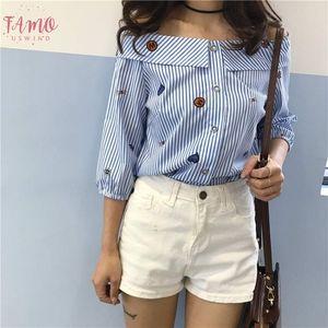 Korean Style Off Shoulder Slash Turn Down Neck Button Blouses Carton Printing Blue Striped Blusas Femininas
